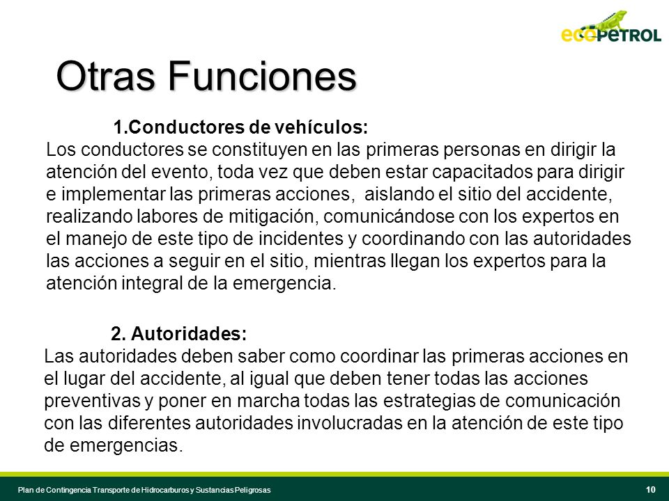 Otras Funciones Conductores de vehículos: