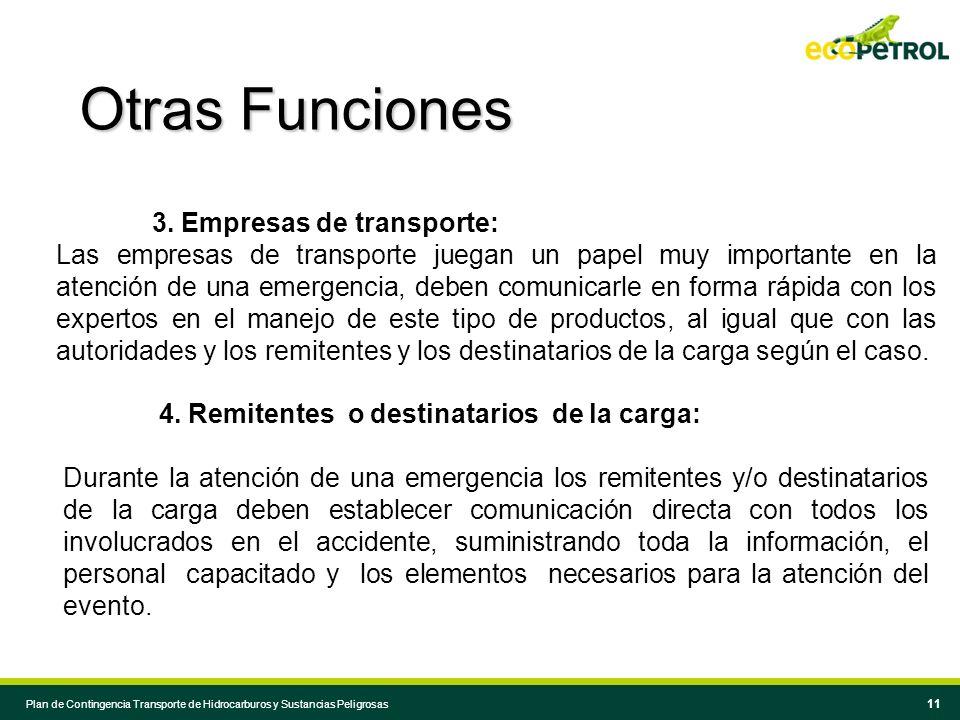 Otras Funciones 3. Empresas de transporte: