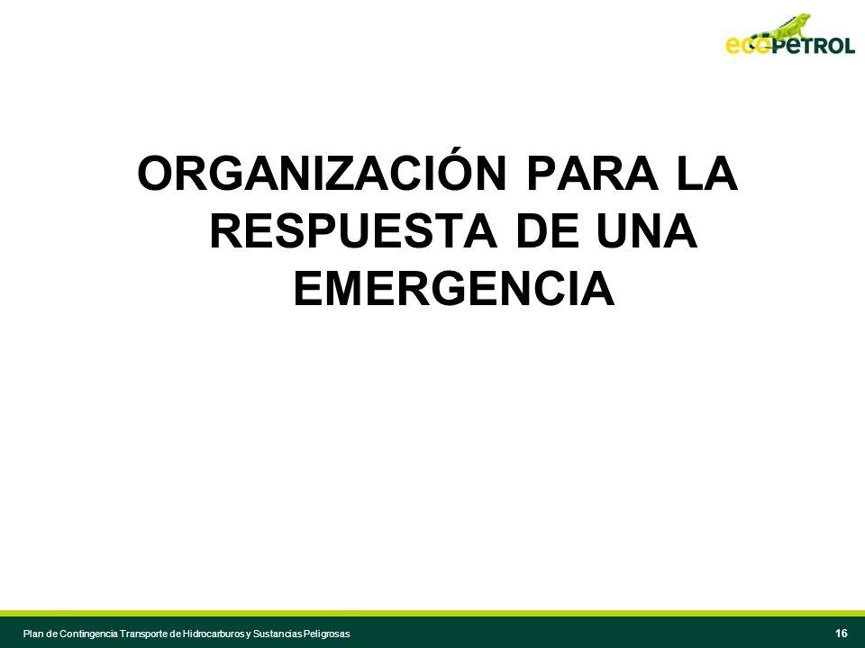 ORGANIZACIÓN PARA LA RESPUESTA DE UNA EMERGENCIA