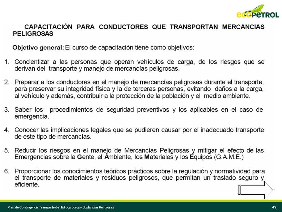 Plan de Contingencia Transporte de Hidrocarburos y Sustancias Peligrosas