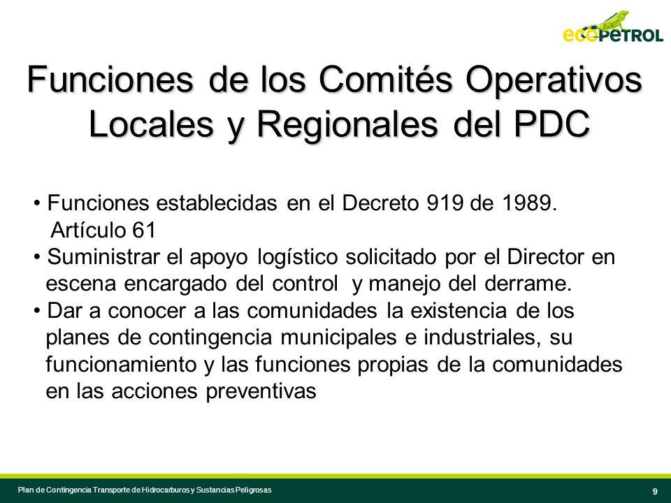 Funciones de los Comités Operativos Locales y Regionales del PDC