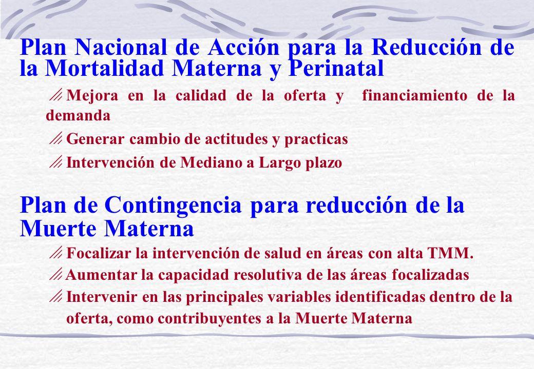 Plan de Contingencia para reducción de la Muerte Materna