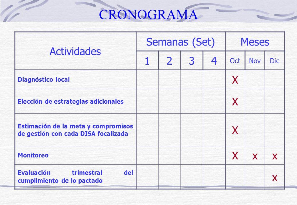 CRONOGRAMA Actividades Semanas (Set) Meses 1 2 3 4 X x Oct Nov Dic