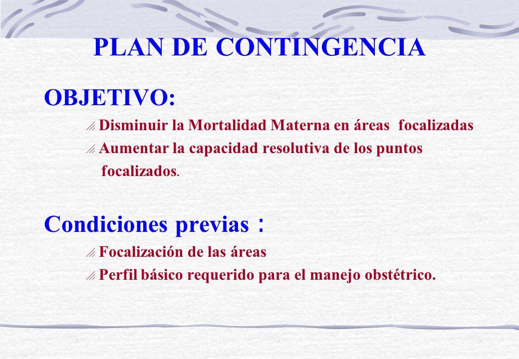 PLAN DE CONTINGENCIA OBJETIVO: Condiciones previas :