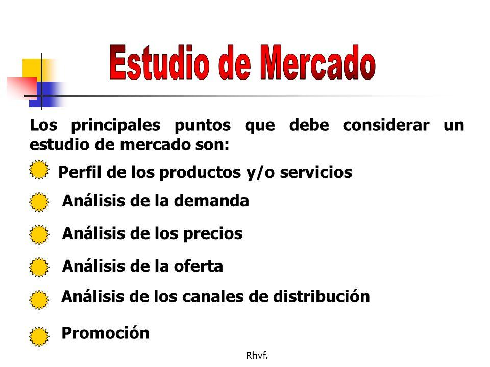 Estudio de Mercado Los principales puntos que debe considerar un estudio de mercado son: Perfil de los productos y/o servicios.