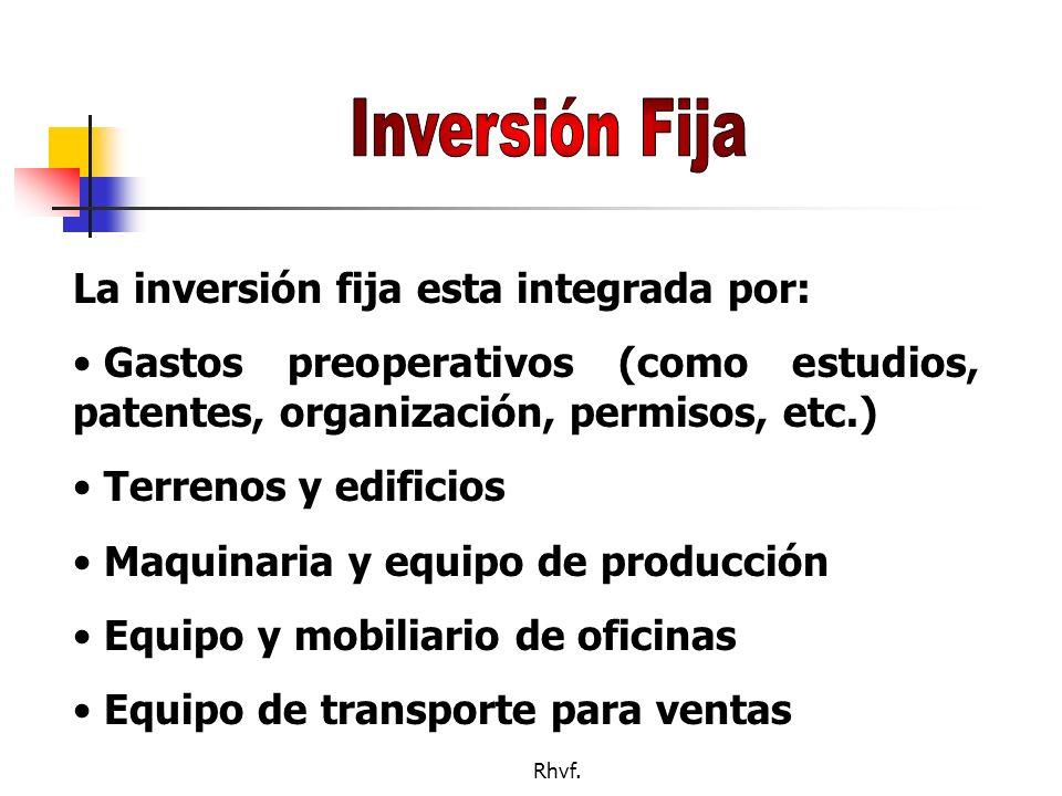 Inversión Fija La inversión fija esta integrada por:
