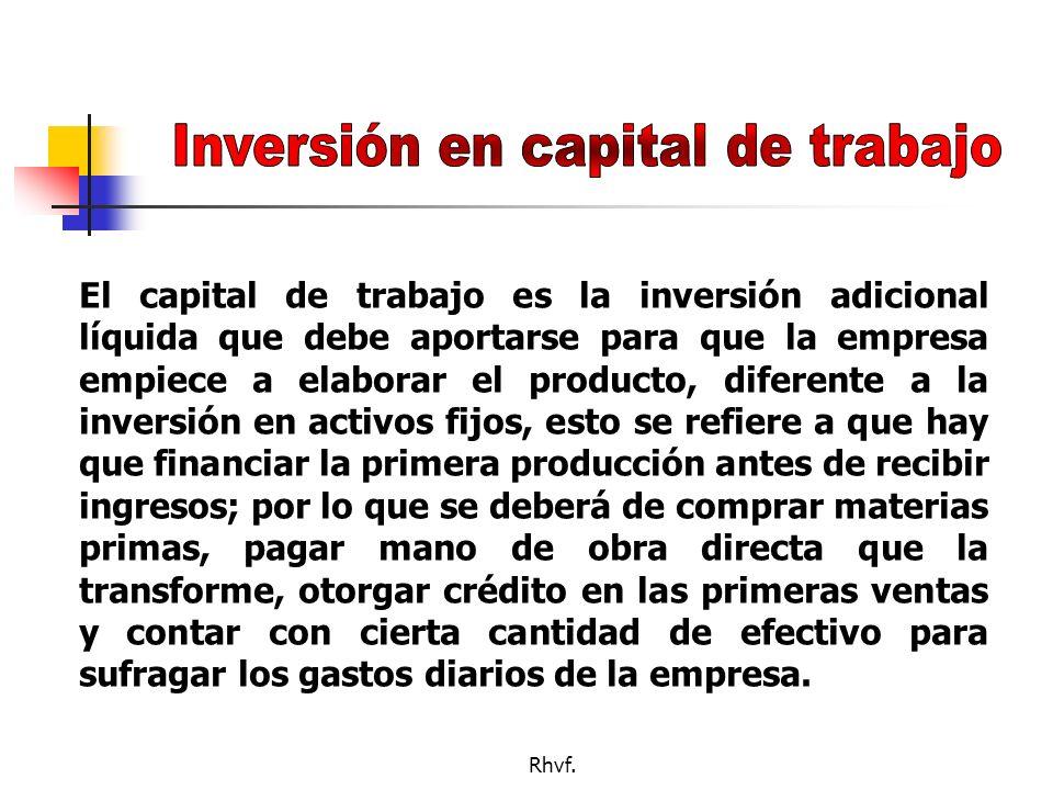 Inversión en capital de trabajo