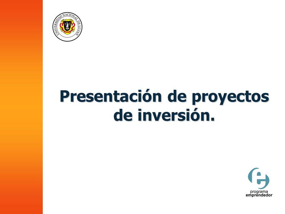 Presentación de proyectos de inversión.