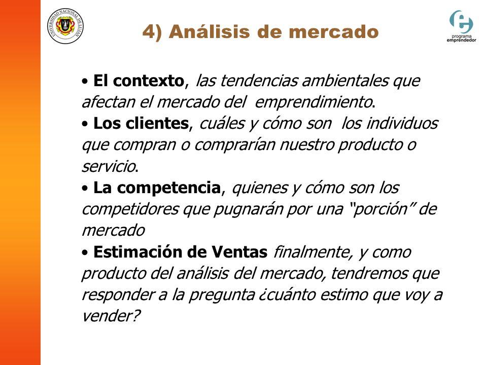 4) Análisis de mercado El contexto, las tendencias ambientales que afectan el mercado del emprendimiento.