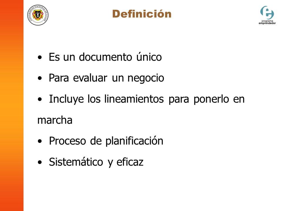Definición Es un documento único. Para evaluar un negocio. Incluye los lineamientos para ponerlo en marcha.
