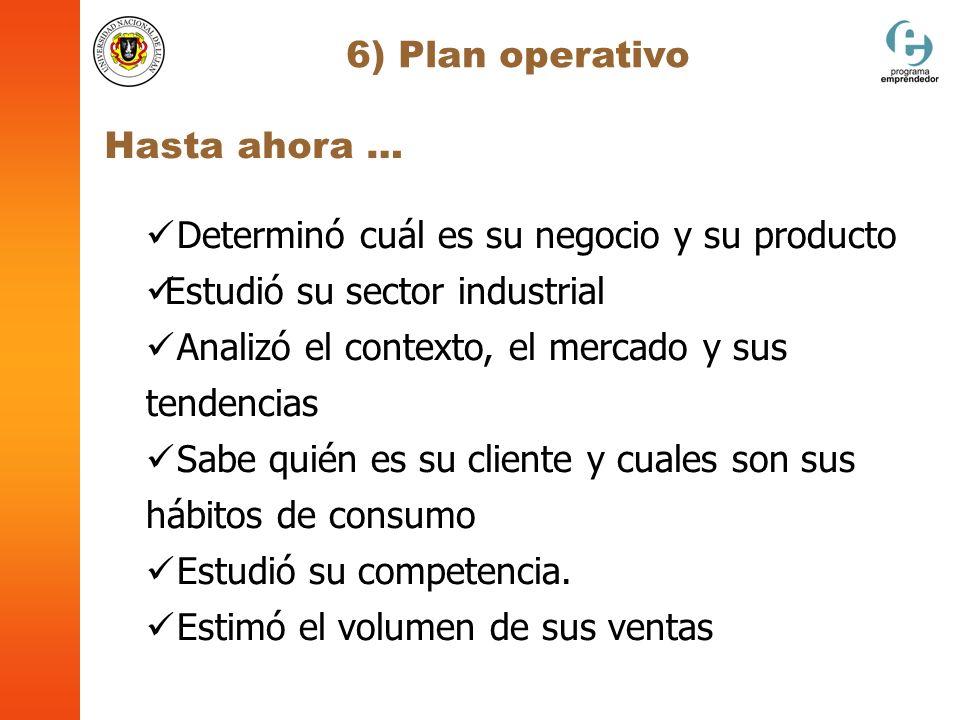 6) Plan operativo Hasta ahora … Determinó cuál es su negocio y su producto. Estudió su sector industrial.