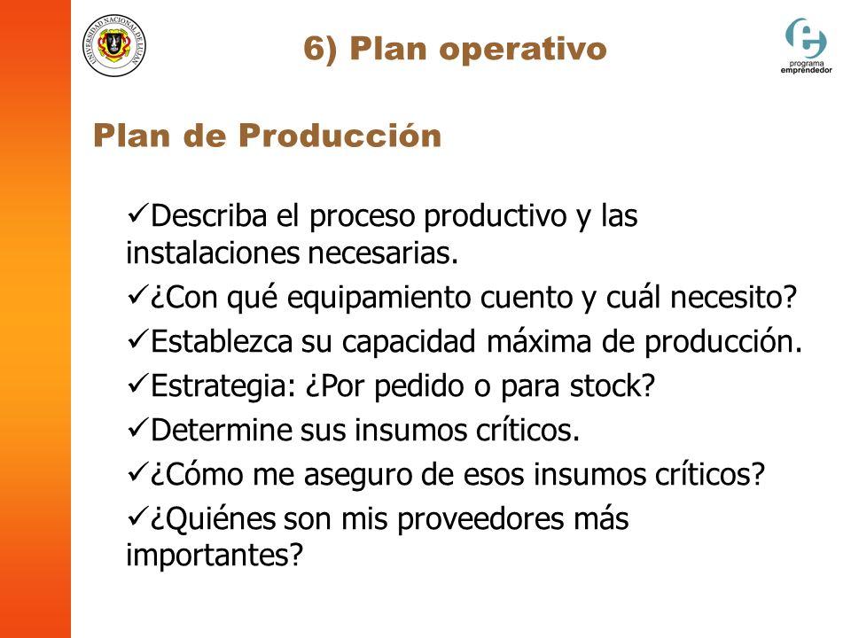 6) Plan operativo Plan de Producción