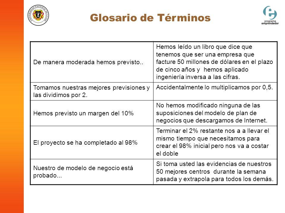 Glosario de Términos De manera moderada hemos previsto..