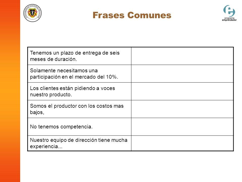 Frases Comunes Tenemos un plazo de entrega de seis meses de duración.