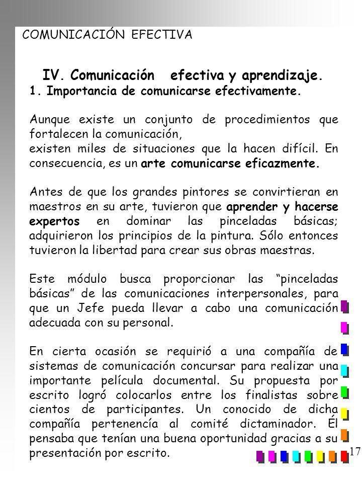 IV. Comunicación efectiva y aprendizaje.