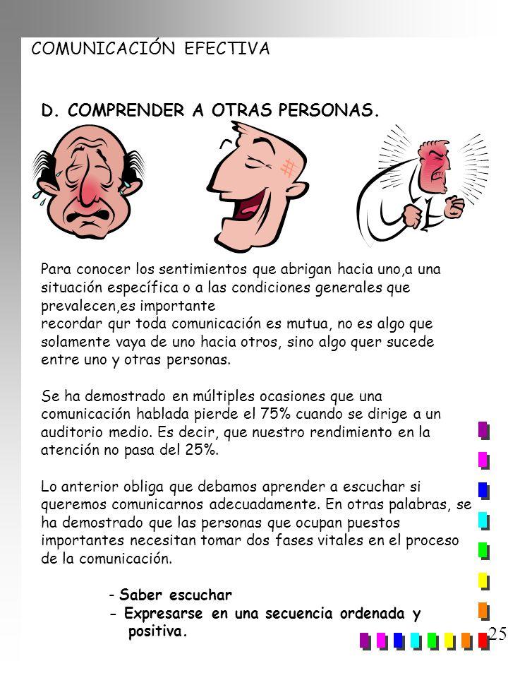 25 D. COMPRENDER A OTRAS PERSONAS.
