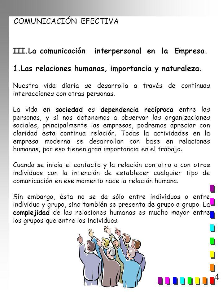4 III.La comunicación interpersonal en la Empresa.