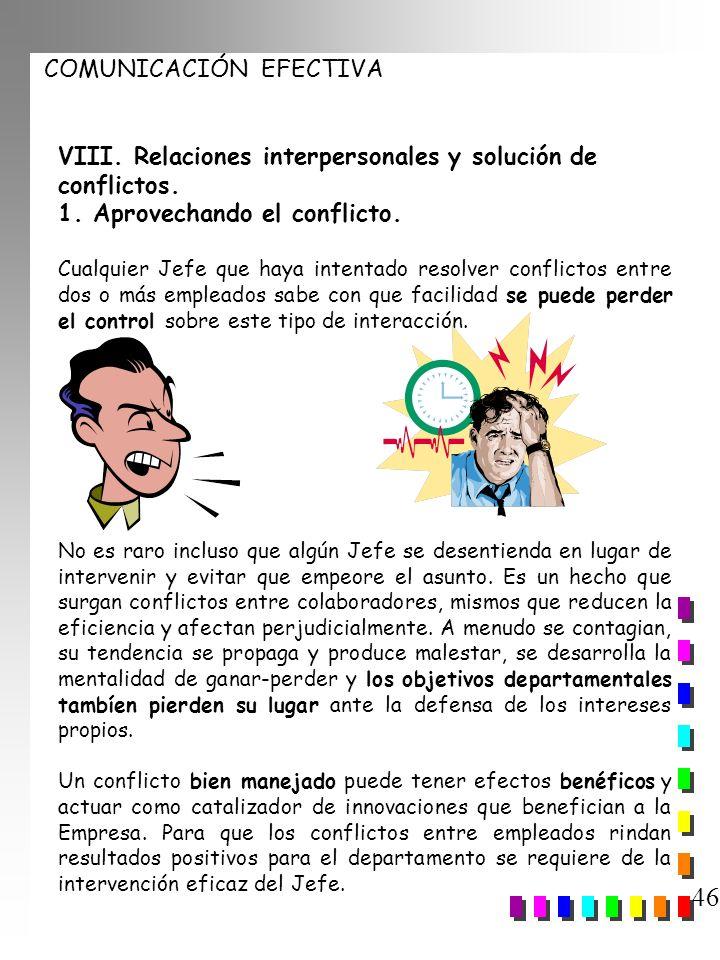 46 VIII. Relaciones interpersonales y solución de conflictos.
