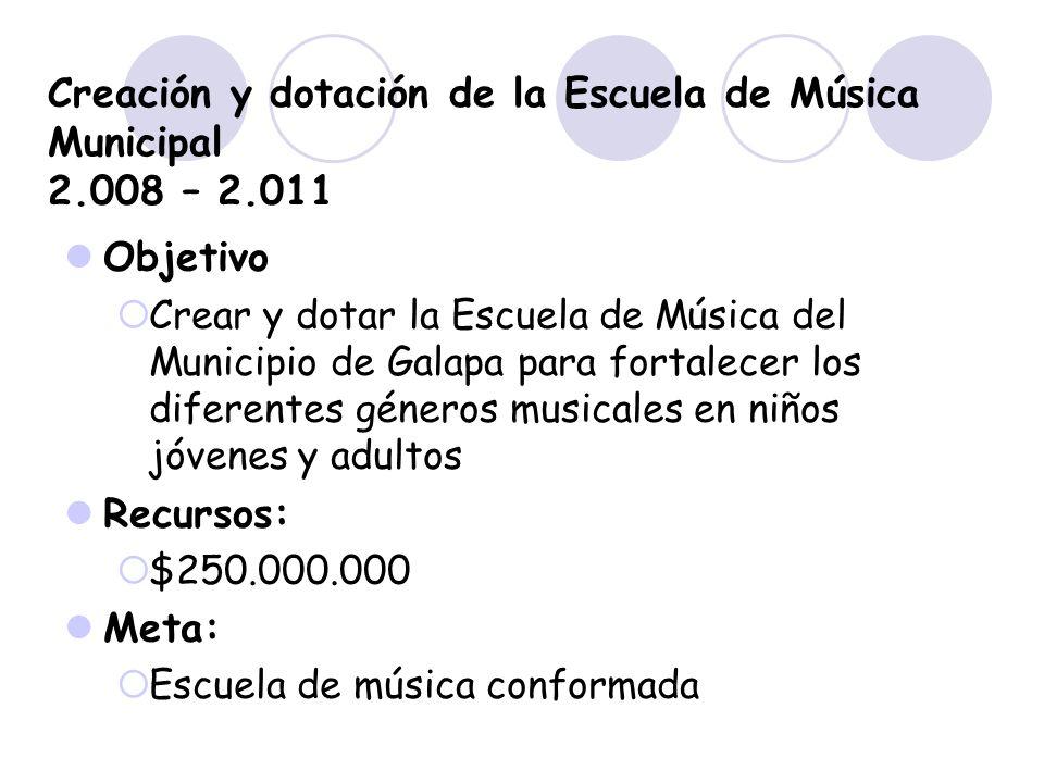 Creación y dotación de la Escuela de Música Municipal 2.008 – 2.011