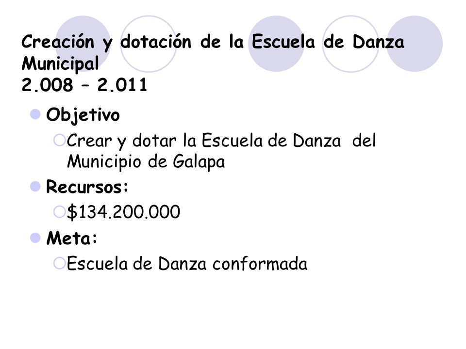 Creación y dotación de la Escuela de Danza Municipal 2.008 – 2.011