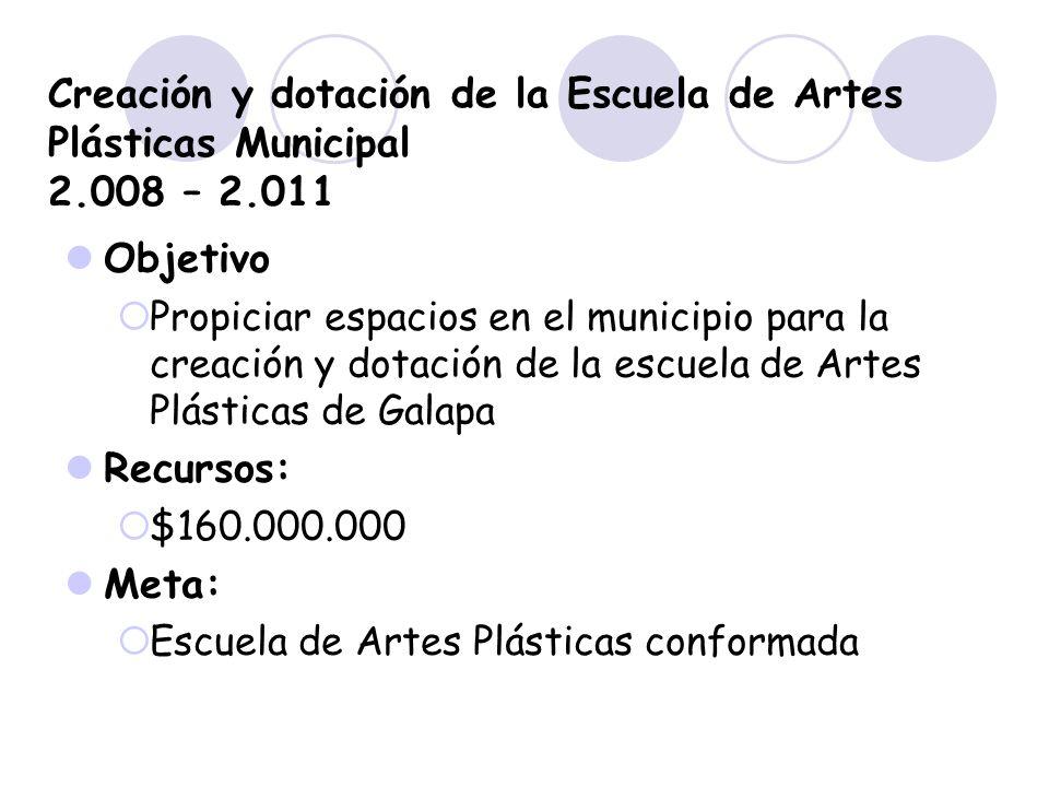 Creación y dotación de la Escuela de Artes Plásticas Municipal 2
