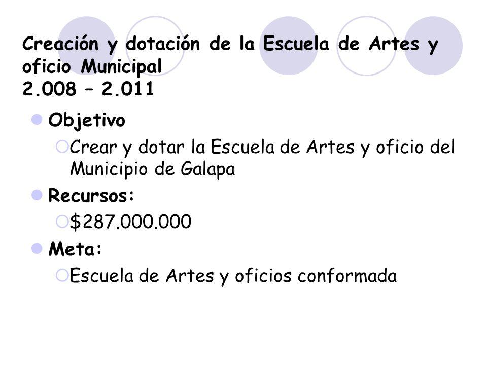 Creación y dotación de la Escuela de Artes y oficio Municipal 2