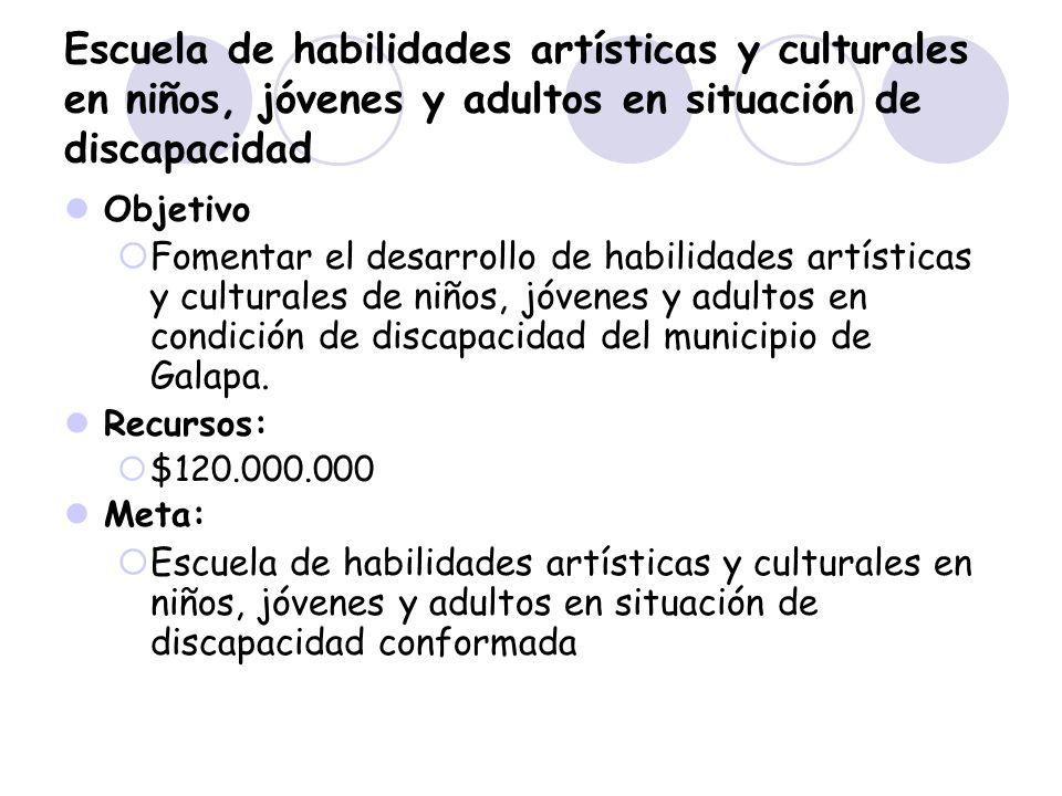 Escuela de habilidades artísticas y culturales en niños, jóvenes y adultos en situación de discapacidad