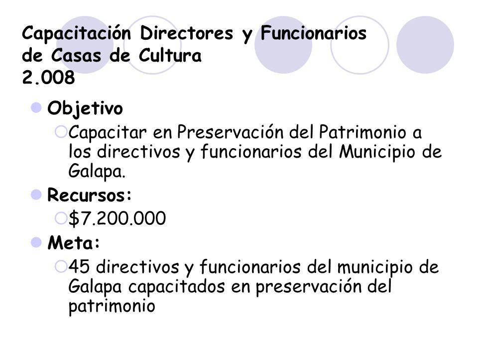 Capacitación Directores y Funcionarios de Casas de Cultura 2.008