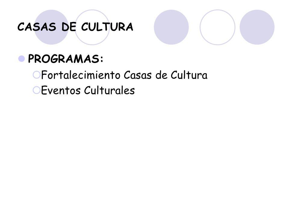 CASAS DE CULTURA PROGRAMAS: Fortalecimiento Casas de Cultura