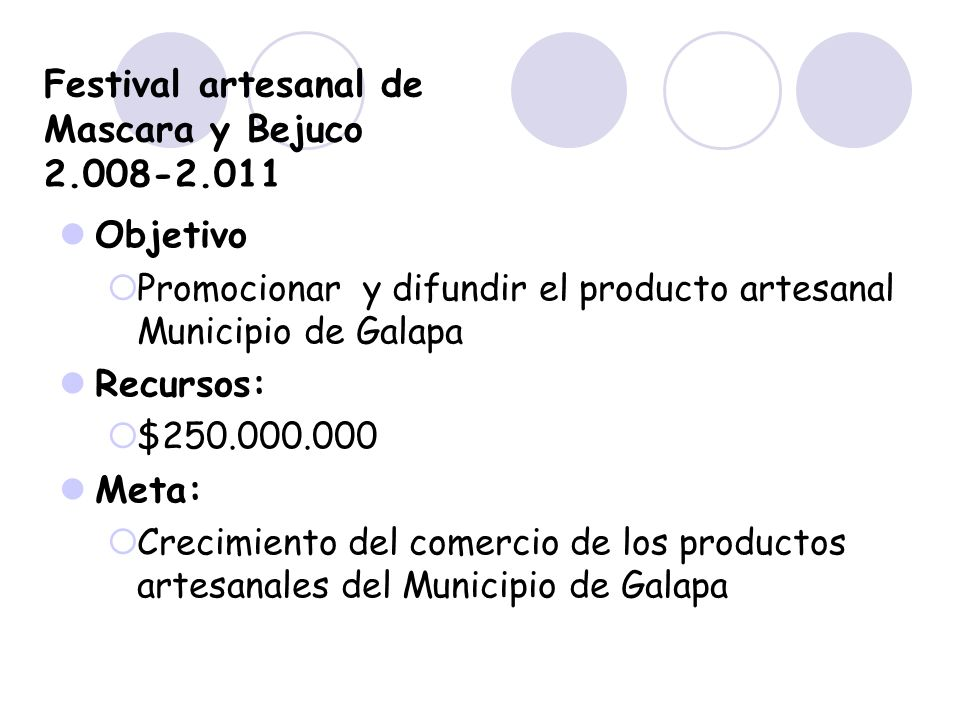 Festival artesanal de Mascara y Bejuco 2.008-2.011
