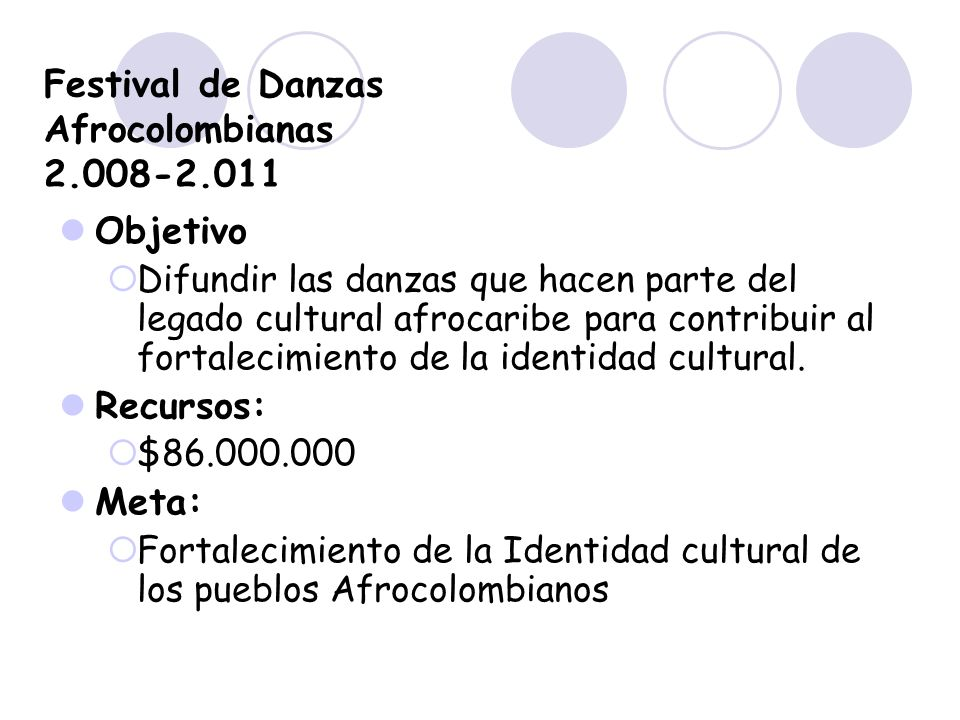 Festival de Danzas Afrocolombianas 2.008-2.011