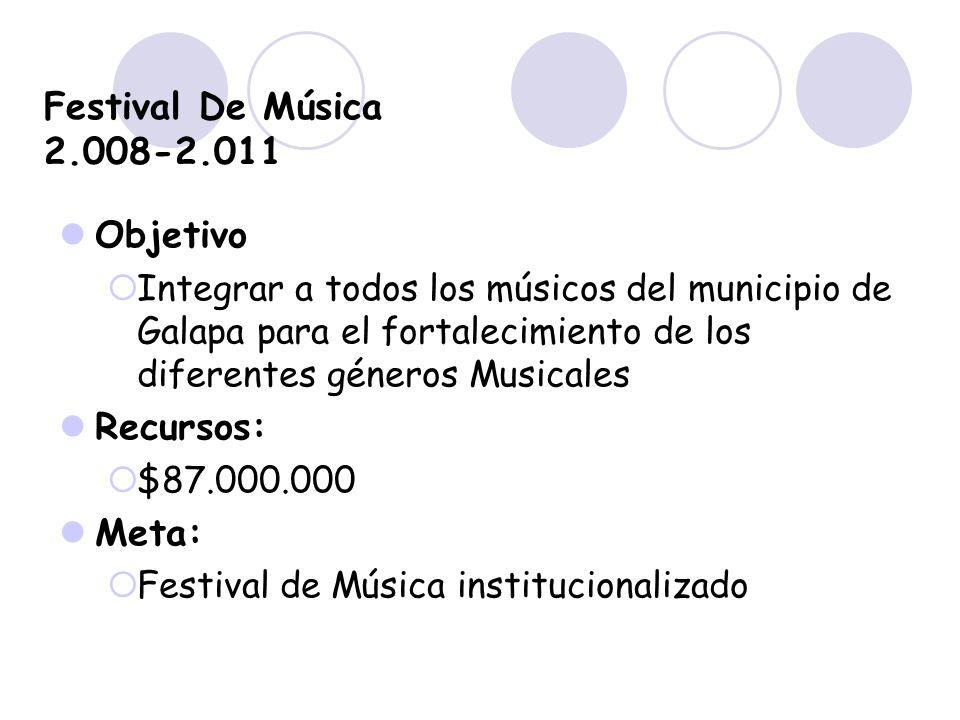 Festival De Música 2.008-2.011 Objetivo Recursos: Meta: