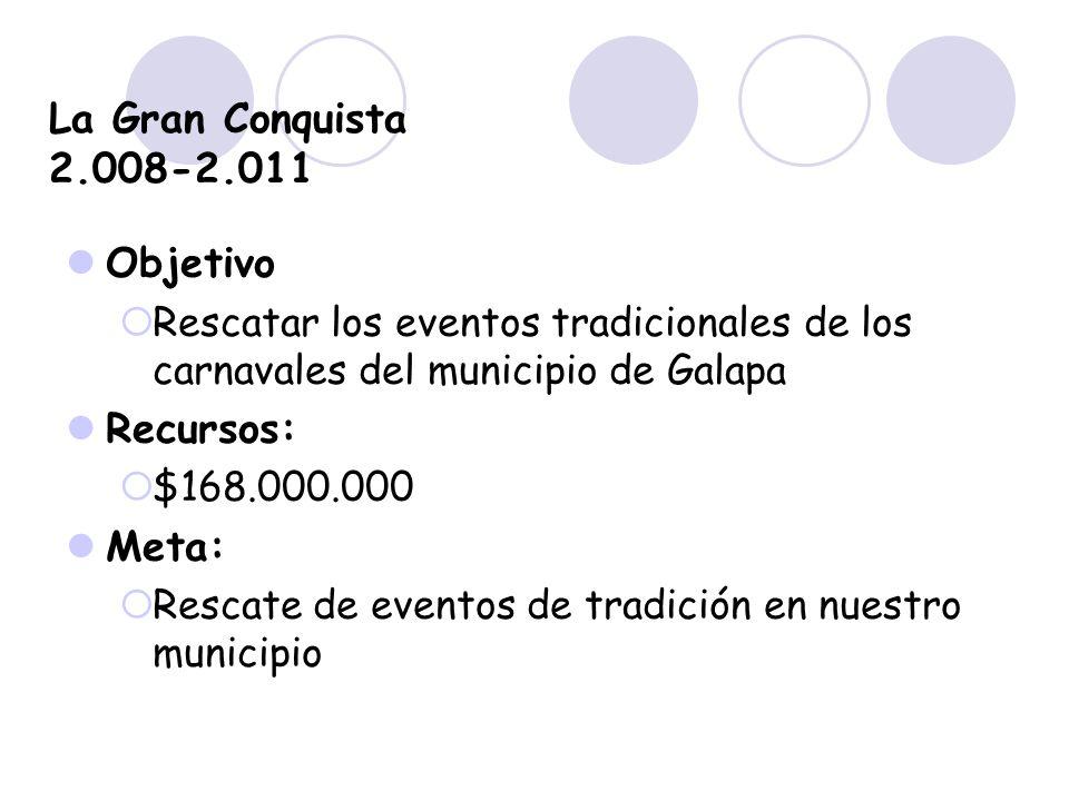 La Gran Conquista 2.008-2.011 Objetivo Recursos: Meta: