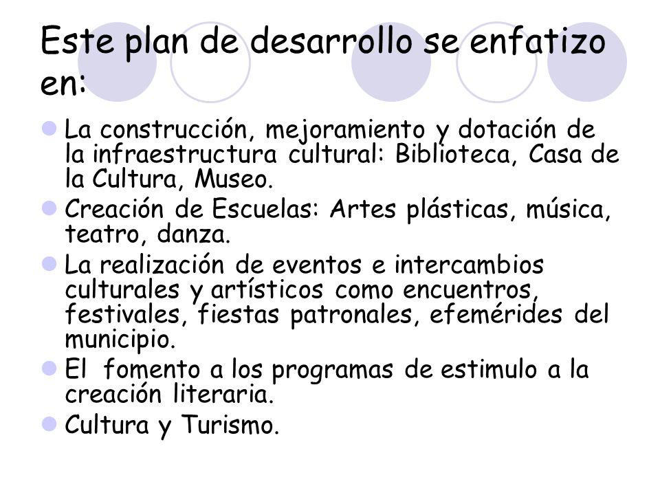 Este plan de desarrollo se enfatizo en: