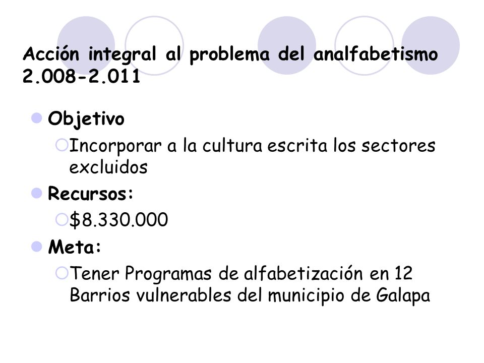 Acción integral al problema del analfabetismo 2.008-2.011