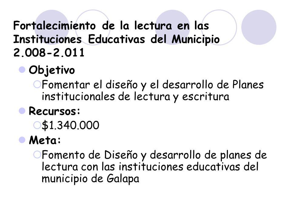 Fortalecimiento de la lectura en las Instituciones Educativas del Municipio 2.008-2.011