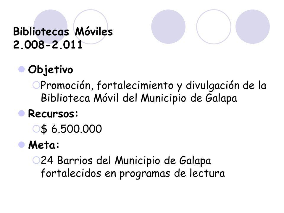Bibliotecas Móviles 2.008-2.011 Objetivo Recursos: Meta: