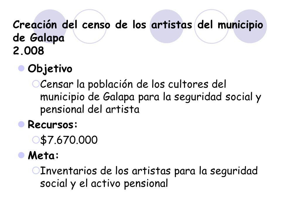 Creación del censo de los artistas del municipio de Galapa 2.008