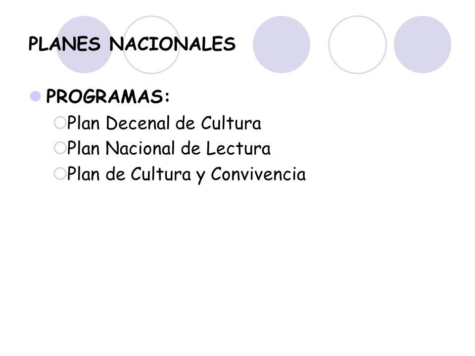 PLANES NACIONALES PROGRAMAS: Plan Decenal de Cultura