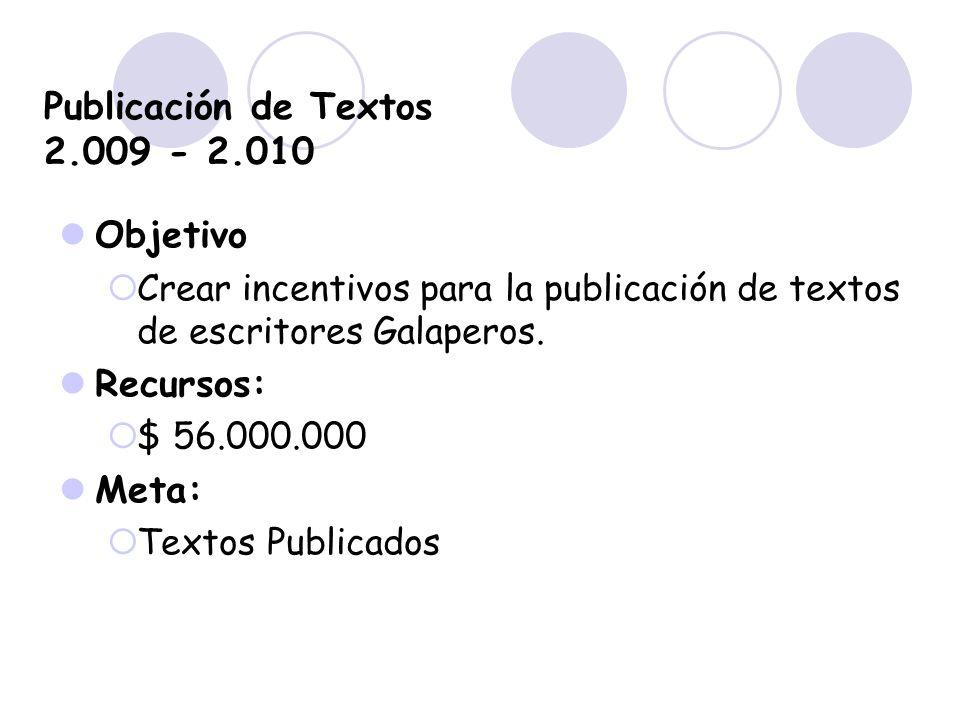 Publicación de Textos 2.009 - 2.010