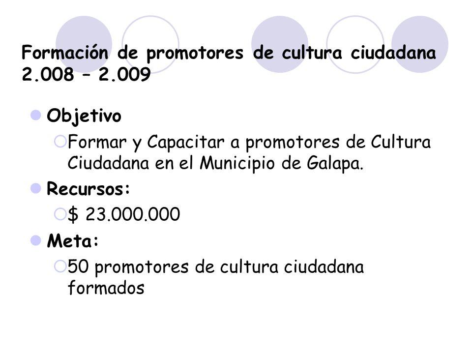 Formación de promotores de cultura ciudadana 2.008 – 2.009