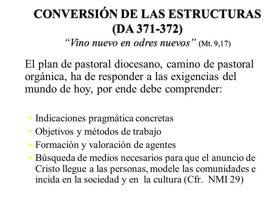 CONVERSIÓN DE LAS ESTRUCTURAS (DA 371-372) Vino nuevo en odres nuevos (Mt. 9,17)