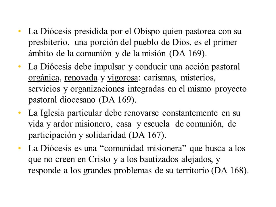 La Diócesis presidida por el Obispo quien pastorea con su presbiterio, una porción del pueblo de Dios, es el primer ámbito de la comunión y de la misión (DA 169).