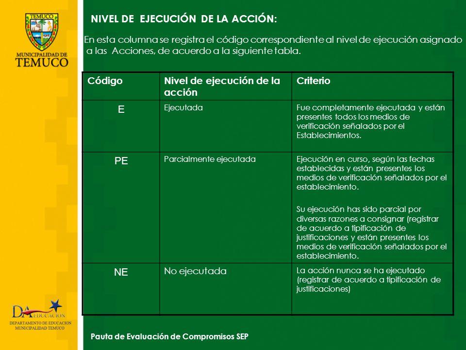 NIVEL DE EJECUCIÓN DE LA ACCIÓN: