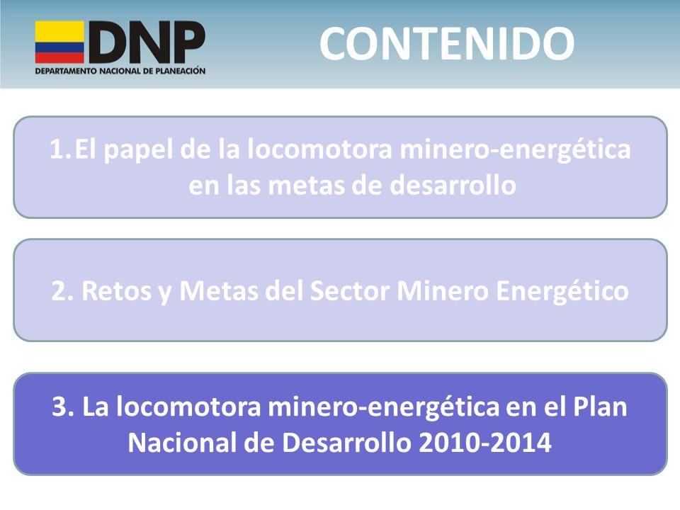 Contenido El papel de la locomotora minero-energética en las metas de desarrollo. 2. Retos y Metas del Sector Minero Energético.