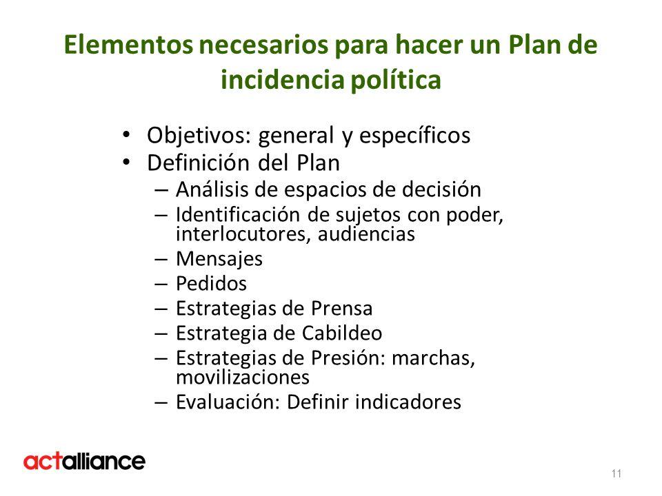 Elementos necesarios para hacer un Plan de incidencia política