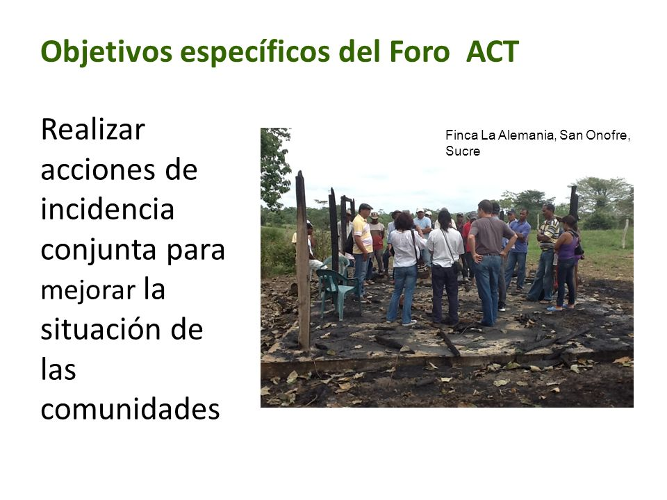 Objetivos específicos del Foro ACT