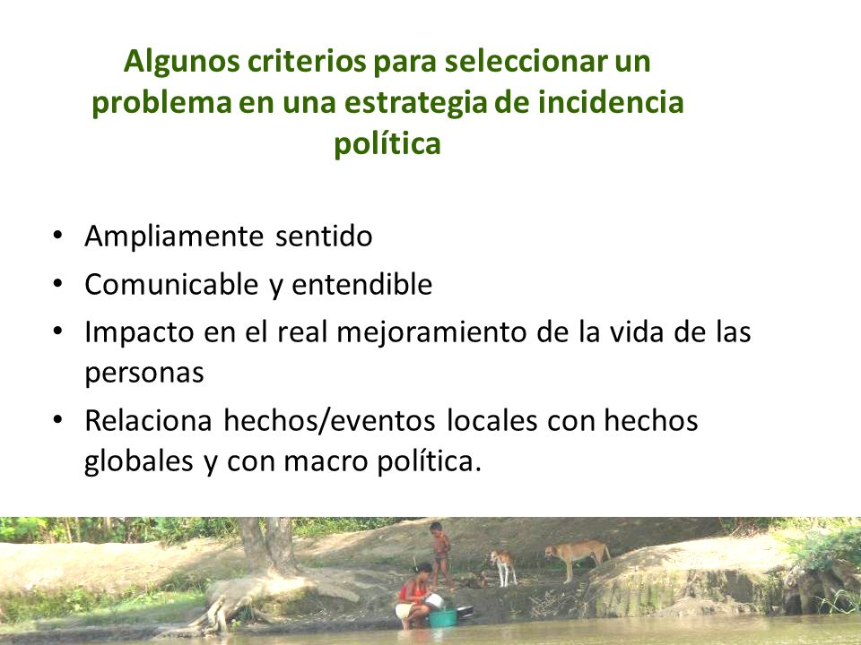 Algunos criterios para seleccionar un problema en una estrategia de incidencia política