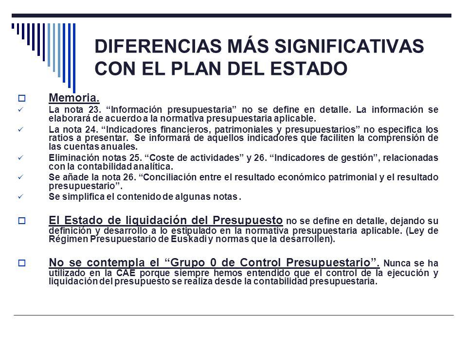 DIFERENCIAS MÁS SIGNIFICATIVAS CON EL PLAN DEL ESTADO