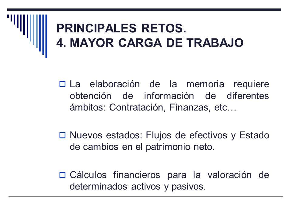 PRINCIPALES RETOS. 4. MAYOR CARGA DE TRABAJO